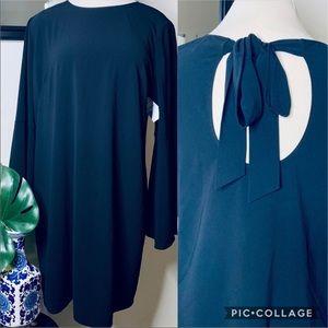 Halogen flare sleeve black bow dress